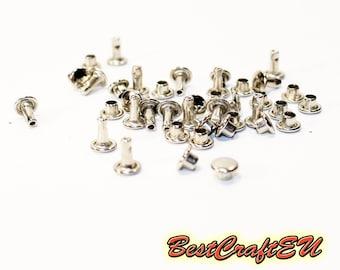 20psc double cap rivets, silver rivets, steel rivets, rivets for crafts, 6mm rivets. Rivets for leather.