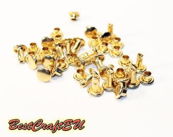 20psc double cap rivets, gold rivets, steel rivets, rivets for crafts, 6mm rivets. Rivets for leather.