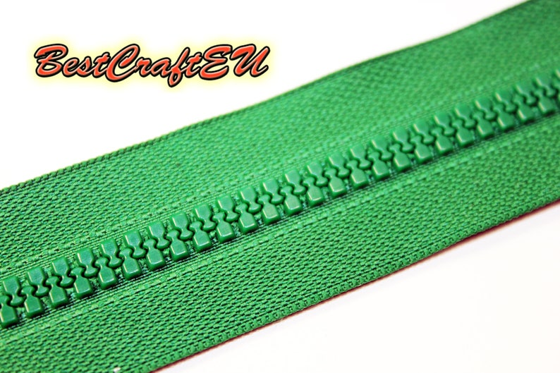 Zipper for leathercraft and sewing. 20cm closed end zipper Zipper for bags and cases Green plastic zipper