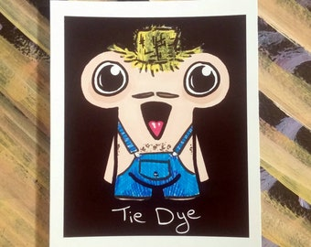Original Stinkydoodles Sketchcard - Cute characters with weird outfits - Collectible drawing made with marker and paint!