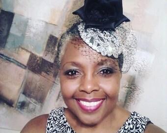 Designer Wedding Fascinator for Women in Black and Silver 70eaf375c1e0