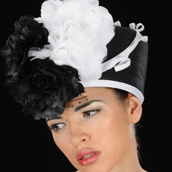 Classy Ladies Church Hats in Black And White Straw  08d24650dd28