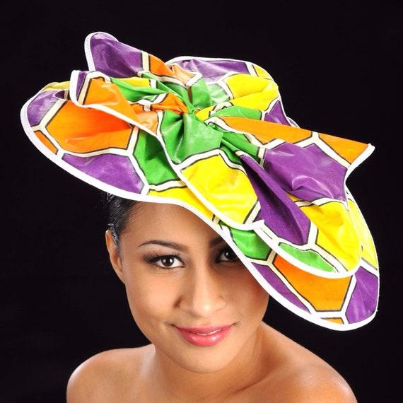 African Print Fabric Fascinator Hats  97270b85b986