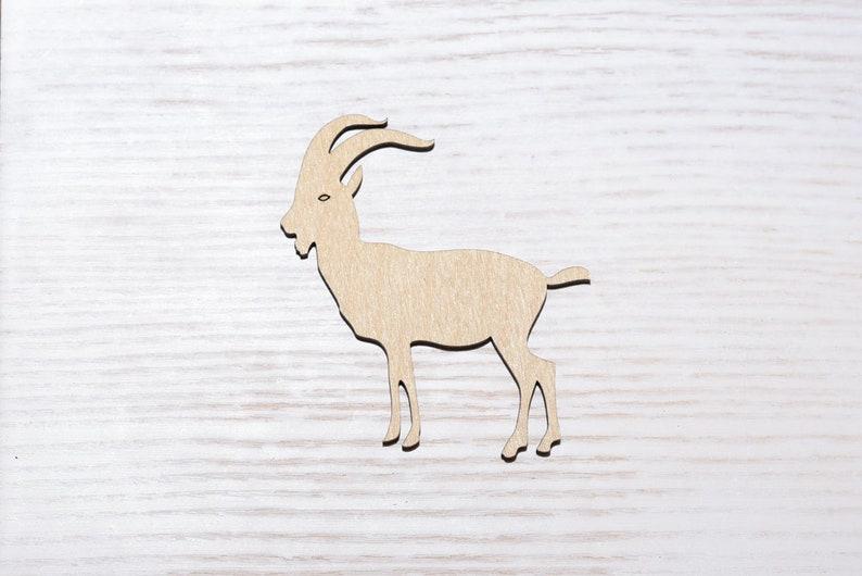 Wooden mountain goat plywood Cut Laser Cutting 4x sizes shape wood  Ornaments Craft Decoration Decoupage Unpainted (EW0182)