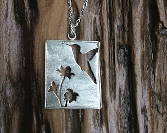 Hand crafted sterling silver hummingbird necklace