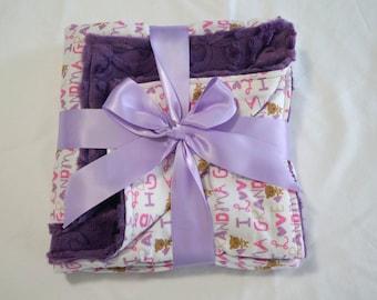 Purple I Love Grandma baby blanket