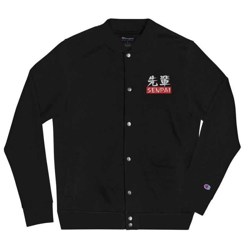 Anime Japanese Inspired Unisex Aesthetic Otaku Embroidered Senpai Champion Bomber Jacket