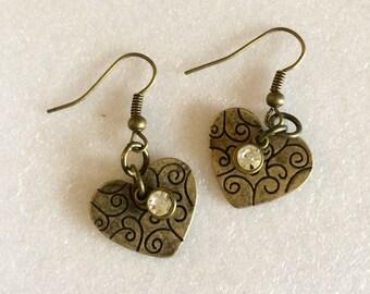 Metal heart dangle earrings