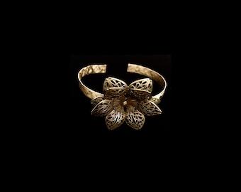Brass flower cuff