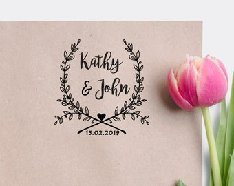 Custom Wreath Wedding Stamp Calligraphy Invitation Save The Date Rubber Personalized W01