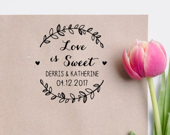 Custom Wreath Wedding Stamp Calligraphy Invitation Love Is Sweet Rubber Personalized W11