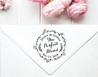 Custom Wreath Wedding Stamp Calligraphy Invitation Save The Date Rubber Perfect Blend W02