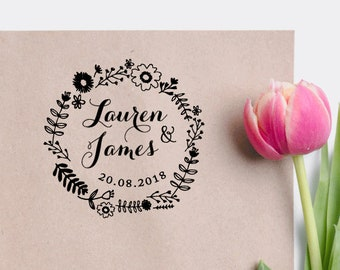 Custom Wreath Wedding Stamp Calligraphy Invitation Save The Date Rubber Personalized W09