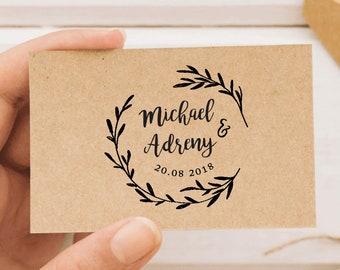 Custom Wreath Wedding Stamp / Calligraphy Wedding Invitation / Save The Date / Custom Wedding Rubber Stamp / Personalized Wedding Stamp W07