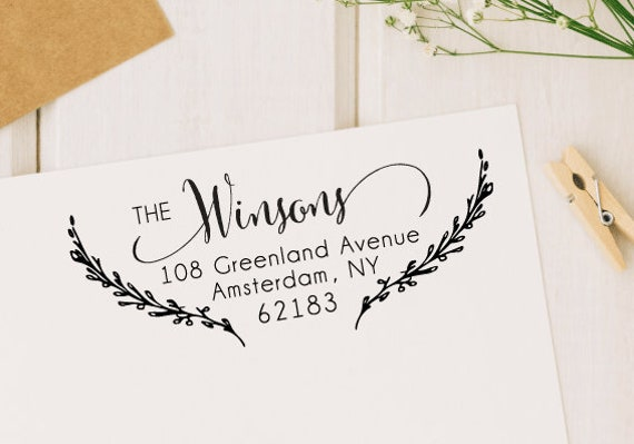 personalized return address stamp custom rubber stamp etsy