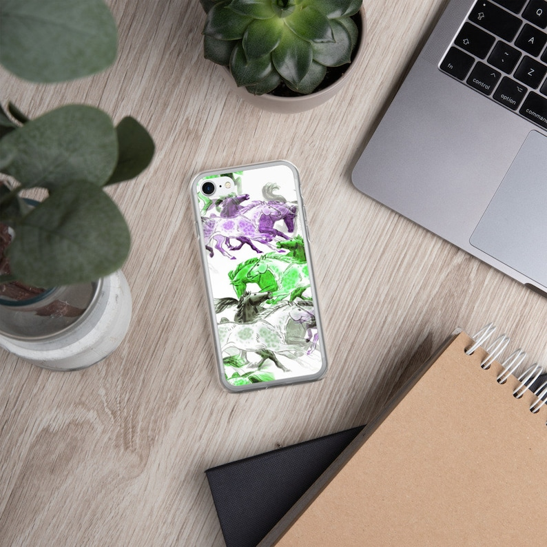 Galloping Horse iPhone Case in Purple XS Max XXS 7 Plus8 Plus Green and Grey Pattern for 78 XR