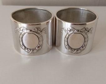 ANTIQUE german silver 800 NAPKIN RING holder set of 2 -  you & me