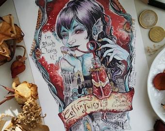 Coffin - map illustration A5 - Juicy glazed / glossy