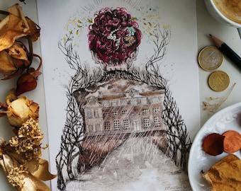 The Brown Lady - A5 illustration postcard - glazed / glossy