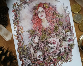 Thorny Plants Witch - map A5 illustration - Mate
