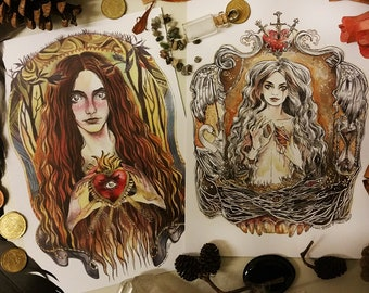 The Heart - set of two A5 illustration cards