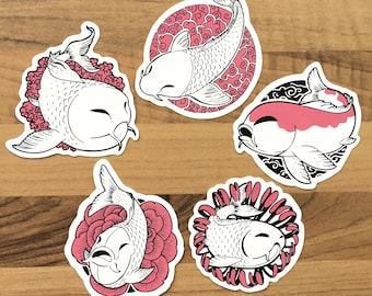 5 Stickers Pack - Koi Pond