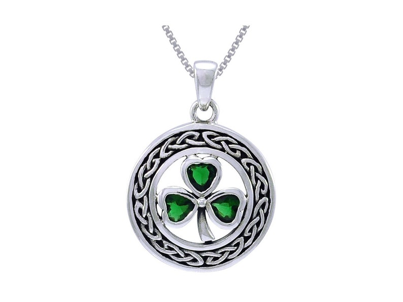 Jewelry Trends Celtic Clover Sterling Silver with Green Glass Pendant Necklace 18