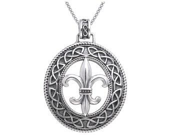 """Jewelry Trends Fleur De Lis Celtic Knotwork Sterling Silver Pendant Necklace 18"""""""