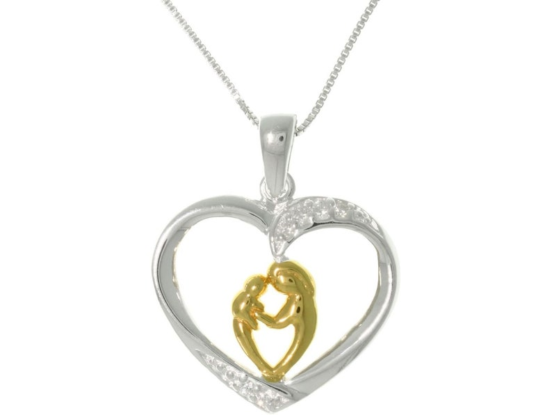 Jewelry Trends Heart with Mother and Child and 18k Yellow Gold Sterling Silver Pendant Necklace 18