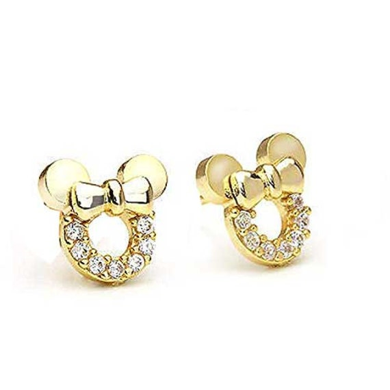 14K Yellow Gold Over Round Gemstone Small Minnie Mouse Stud Earrings Valentines