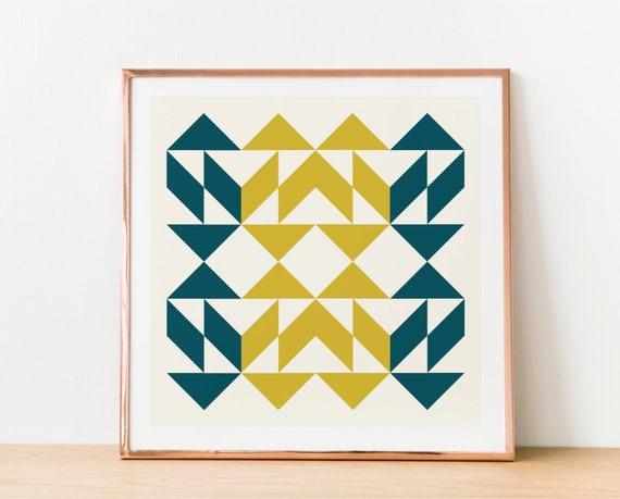 Mid Century Modern Wall Art Modern Quilt Print Geometric Design Printable Large Abstract Poster Scandinavian Style Retro Shapes Print