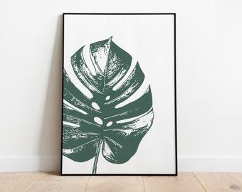 Monstera Wall Art, Swiss Cheese Plant Digital Print, Oversized Botanical Printable, Minimalist Leaf Art, Gift for Her, Modern Home Decor