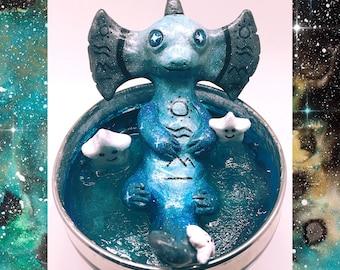 Ooak polymer galaxy salamander hope lucky charm sculpture