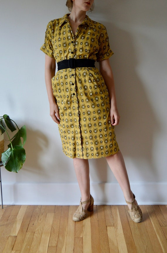 1950s Yellow Printed Shirt Dress