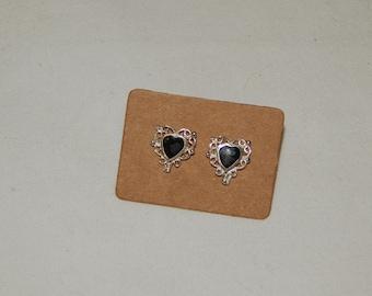 Vintage Sterling Silver Filigree Heart Post Earrings with Black stones