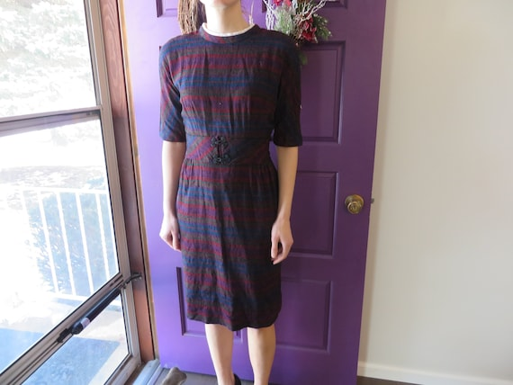 L'Aiglon 1950's Dark Striped Vintage Dress