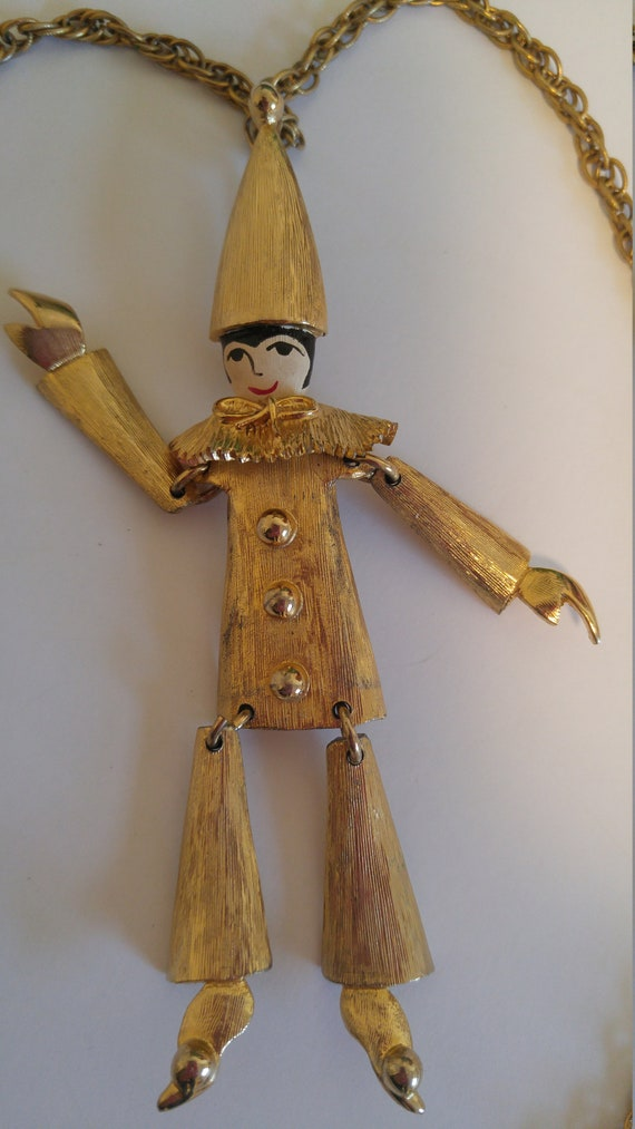 Vintage Polcini Articulated Harlequin Pierrot Clow