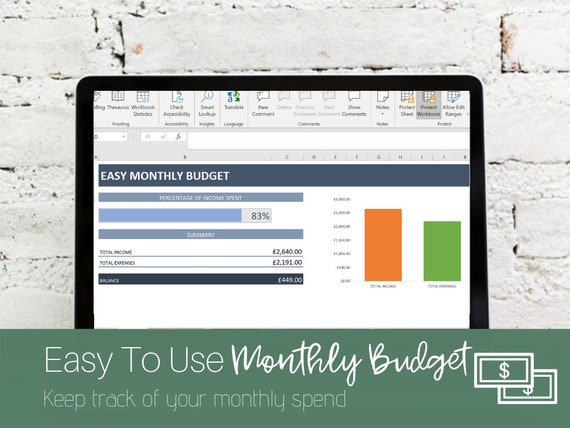 Easy Basic Income Expenses Spreadsheet Monthly Bookkeeping Etsy
