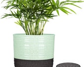 1-Pack Plant pot, 6 inch Ceramic Planters Pots with Drainage Hole and Trays for Herbs, Aloes, Money Trees, Cream White Cylinder Stripes Pots