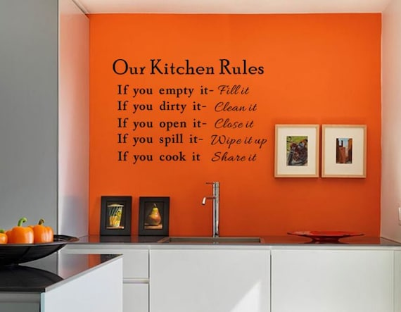 Kitchen Rules Words Wall Stickers Decal Home Kitchen Family Etsy