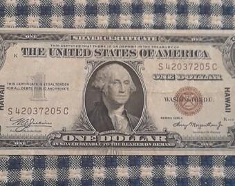 1935-A WW2 Hawaii Emergency Issue Silver Certificate Brown Seal Very Fine