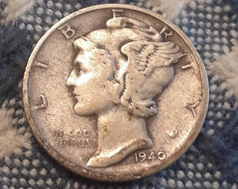 1940-S War World II  Mercury Dime 90% Silver (VF)