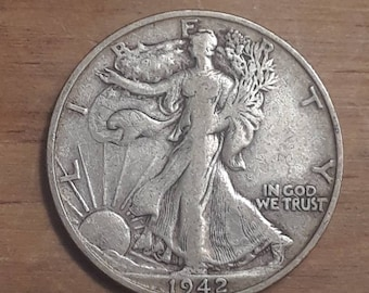 World War 2  Era 1942 S Walking Liberty Siver Half Dollar  90 percent SILVER