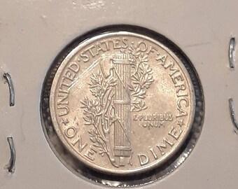 1943 War World II  Mercury Dime 90% Silver (XF)