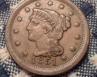 1851 Large Cent Liberty Head, Matron Head Modify and Braided Hair (VF)