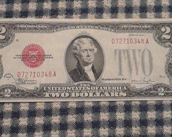 1928-F Red Seal 2 dollars United States Note Legal Tender Block (DA)  FV