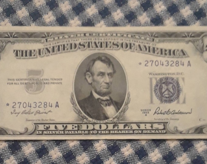Featured listing image: Error Replacement *Star* 1957-A Five Dollar Silver Certificate Crisp Uncirculated High Grade