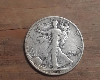 World War 2  Era 1943 S Walking Liberty Siver Half Dollar  90 percent SILVER