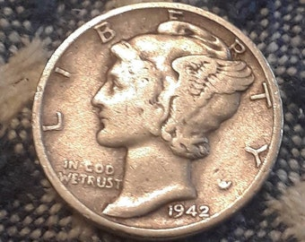 1942 War World II  Mercury Dime 90% Silver (F)