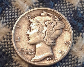 1943-S War World II  Mercury Dime 90% Silver (VF)